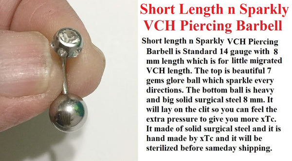 SHORT LENGTH (8mm) and SPARKLY Surgical Steel Barbell for Vertical Hood Piercing.