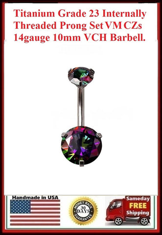 Titanium Grade 23 INTERNALLY THREADED VM Prong Set CZs VCH Barbell.