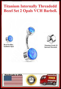 Titanium Grade 23 INTERNALLY THREADED Blue Opal Bezel Set VCH Barbell.