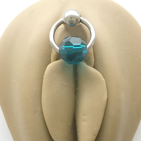 Teal Austrian Crystal Door Knocker VCH Piercing Barbell.