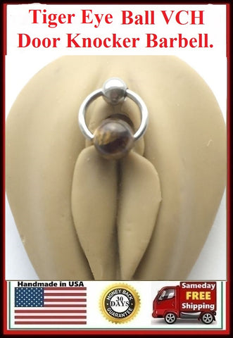 Tiger Eye Stone Reversible DOOR KNOCKER for Vertical Hood Piercing.