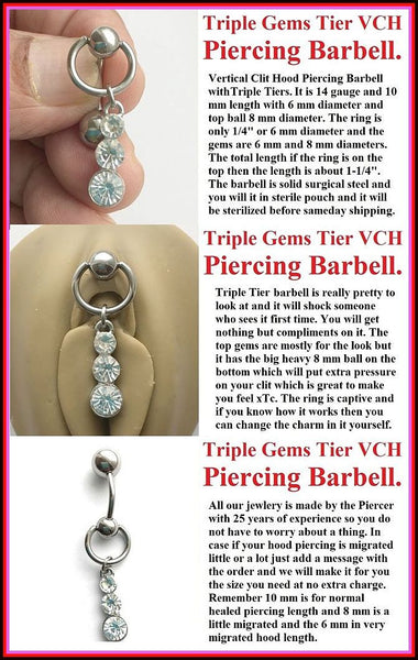 TRIPLE GEMS TIER VCH Piercing Barbell with Heavy Ball for EXTRA PRESSURE.