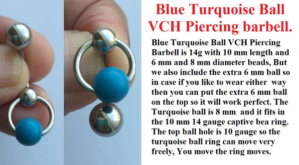 Happiness Stone Turquoise Door Knocker VCH Piercing Barbell.