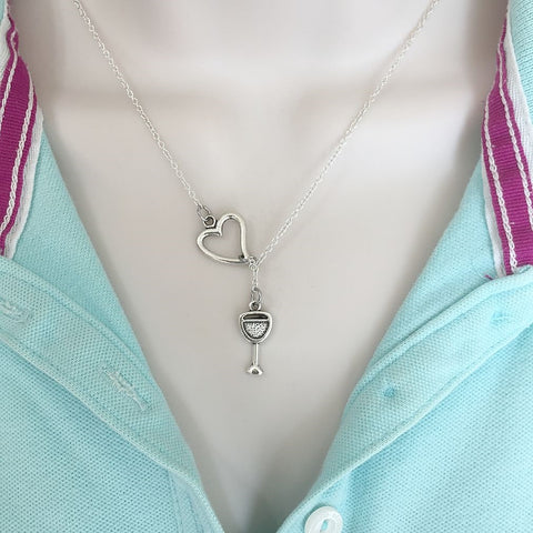 Wine Lovers; Wine Glass Silver Lariat Y Necklace.
