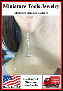 Miniature Tool Hammer Silver Dangle Earrings.