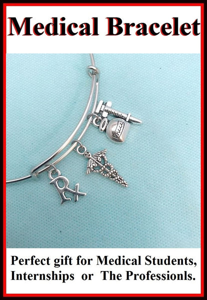 Medical Bracelet : Pharmacist & RN Related Charms Expendable Bangle.