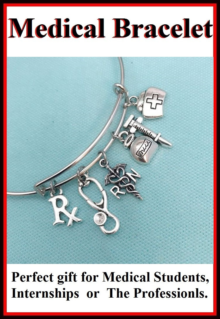 Medical Bracelet : Nurse Related Charms Expendable Bangle.