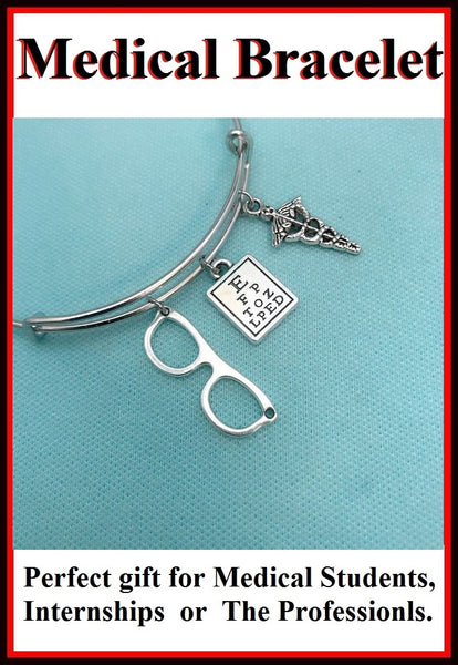 Medical Bracelet : Optometry Related Charms Expendable Bangle.