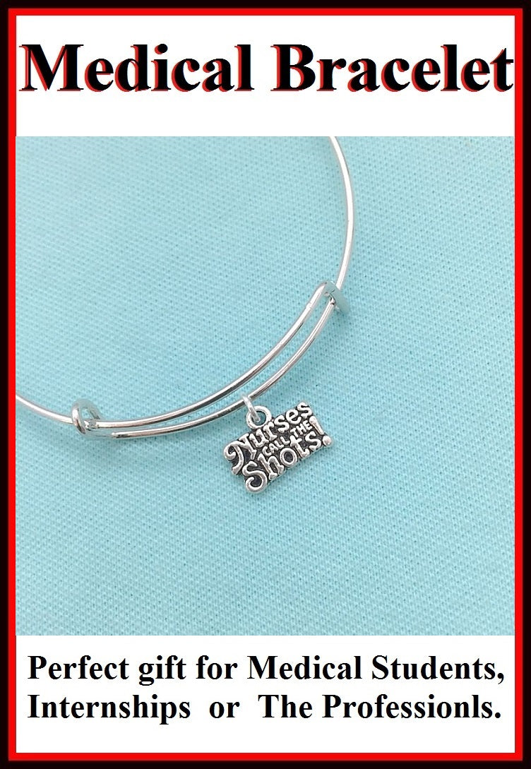 Medical Bracelet : Nurses related Charms Expendable Bangle.