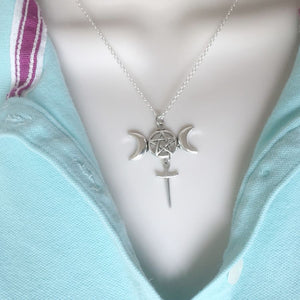 WICCAN PAGAN Silver TRIPLE MOON with PENTAGRAM ATHAME Celtic Charm Necklace.