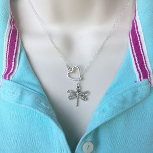 Beautiful I heart Dragonfly Silver Charm Y Lariat Necklace.
