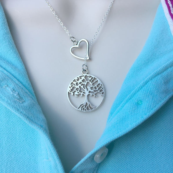 I Love Tree of Life Handcrafted Necklace Lariat Y Style.