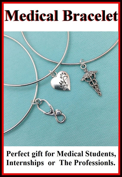 Medical Bracelet : 3 Medical Related Charms Expendable Bangles.