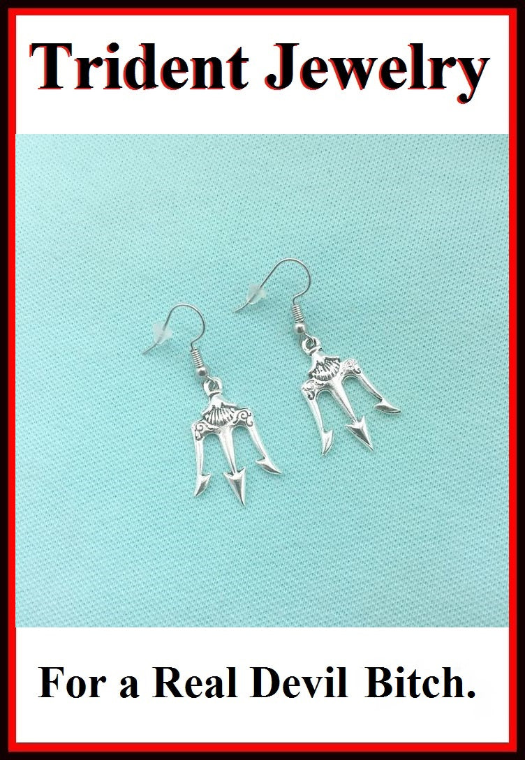 DEVIL PITCH FORK TRIDENT Silver Charms Dangle Earrings.