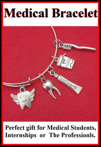 Medical Bracelet : Dental Assistant Related Charms Expendable Bangle.