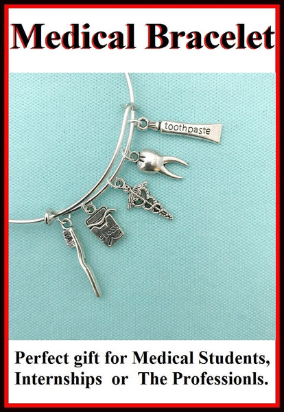 Medical Bracelet : Dentals related Charms Expendable Bangle.