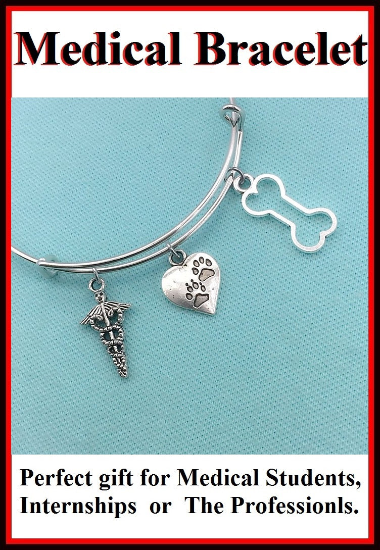 Medical Bracelet : Vet Related Charms Expendable Bangle.