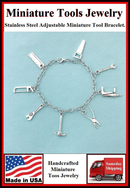 Miniature Tool Charms Stainless Steel Bracelet.
