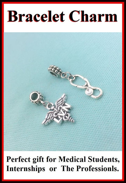 Medical Bracelet Charms : Licensed Vocational Nurse and Stethoscope.