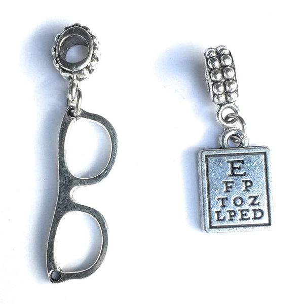 Bracelet Charms : Eyeglasses and Eye Chart Charms.