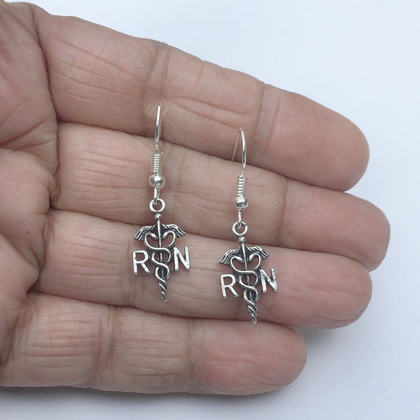 RN Registered Nurse Charms Dangle earrings.