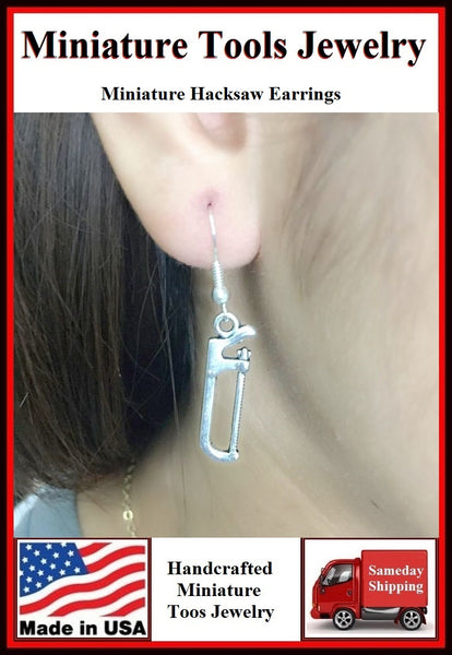 Miniature Tool Hacksaw Silver Dangle Earrings.