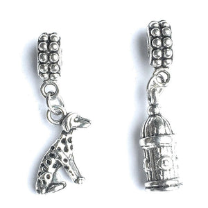 Firefighter Bracelet Charms : Fire Hydrant and Dalmatian Dog.