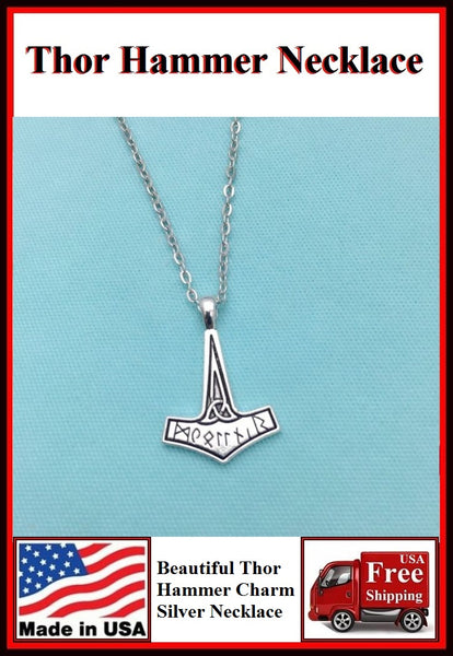 Beautiful THOR HAMMER Silver Charm Necklaces.