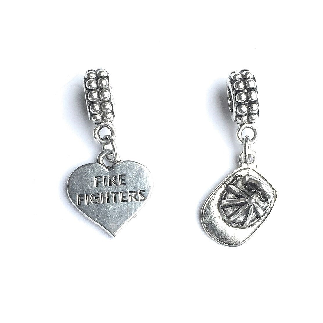 Firefighter Bracelet Charms : Fireman Hat and Heart.