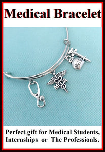 Medical Bracelet : MA Related Charms Expendable Bangle.