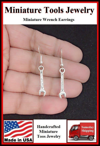 Miniature Tool Spanner or Wrench Silver Dangle Earrings.
