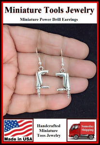 Miniature Tool Power Drill Silver Dangle Earrings.