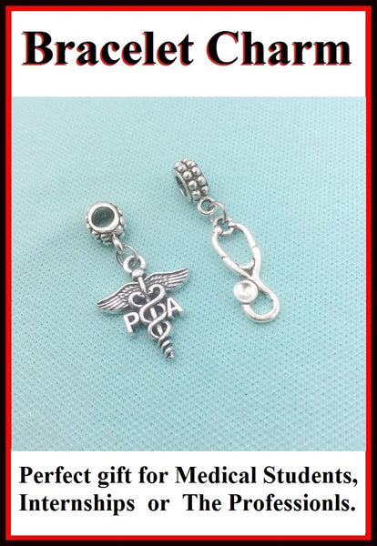 Medical Bracelet Charms : Physician Assistant and Stethoscope Charms.