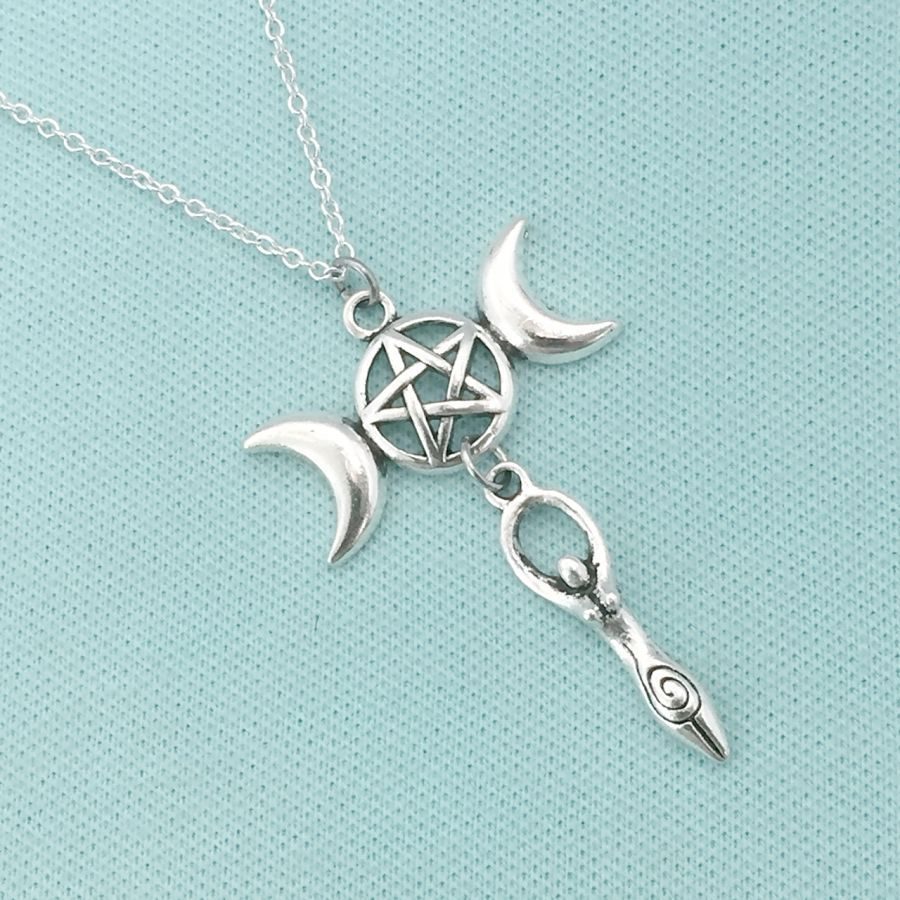 pendant chain necklace triple goddess jewelry in item from wiccan long necklaces bronze moon