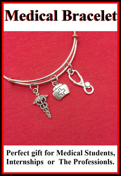 Medical Bracelet : Reg. Nurse Related Charms Expendable Bangle.