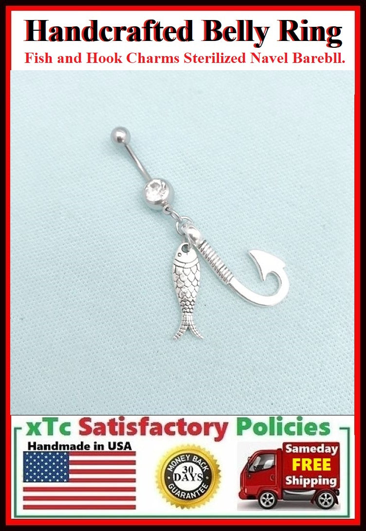 Surgical Steel Double Gems Belly Ring with FISH n HOOK.