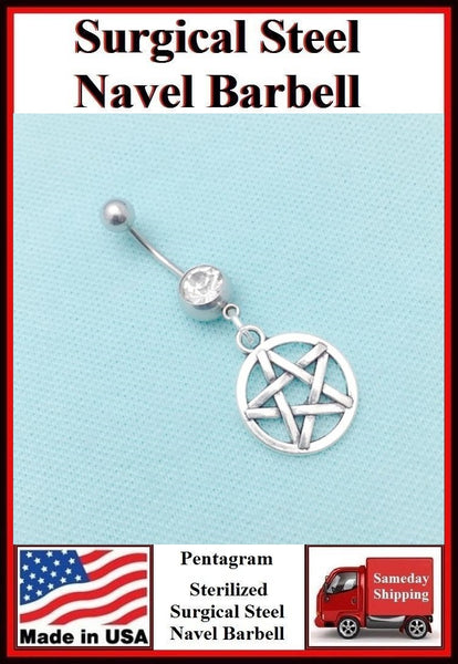 Pentagram Silver Charm Surgical Steel Clear Belly Ring.