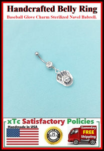 BASEBALL GLOVE Silver Charm Surgical Steel Belly Ring.