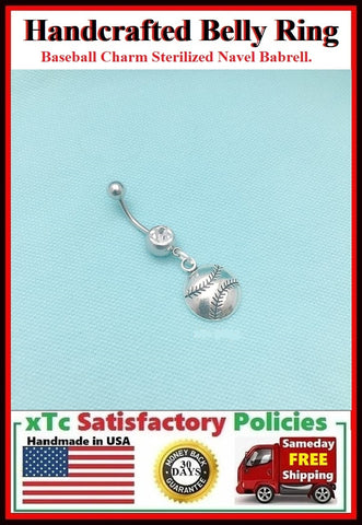 BASEBALL BALL Silver Charm Surgical Steel Belly Ring.