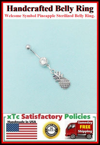 Sterilized Surgical Steel WELCOME SYMBOL PINEAPPLE Belly Ring.