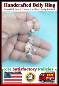 Surgical Steel Double Gems Belly Ring with BEACH CHAMS.