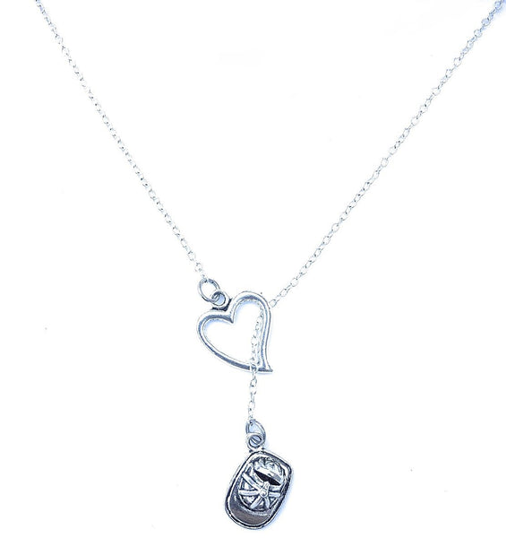 I Heart Firefighters Handcrafted Necklace Lariat Style