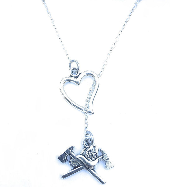 I Heart Firefighter Axes Handcrafted Necklace Lariat Style