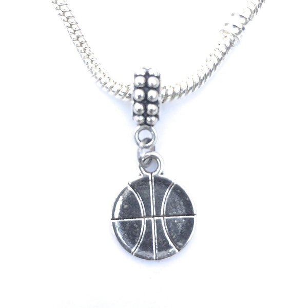 Silver Basket Ball Charm Bead for European and American Bracelet.