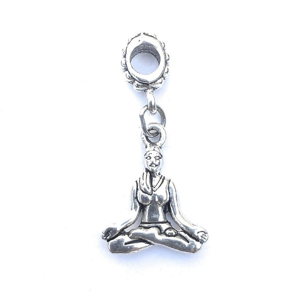 Silver Yoga Pose Charm Bead for European and American Bracelet.