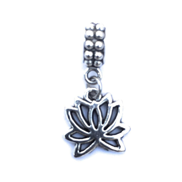 Silver Lotus Flower Charm Bead for European and American Bracelet.