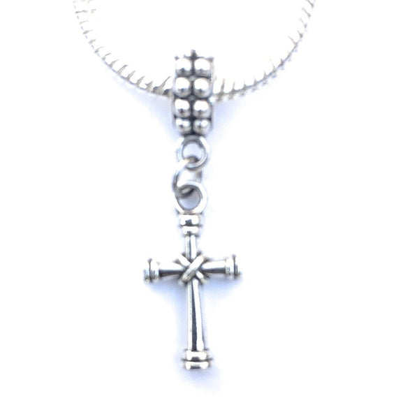 Silver Knotted Cross Charm Bead for European and American Bracelet.