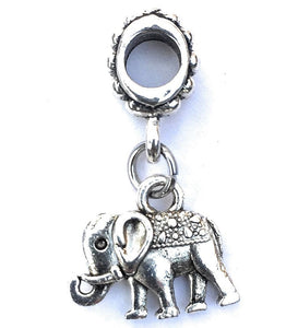 Silver Mini Elephant Charm Bead for European and American Bracelet.