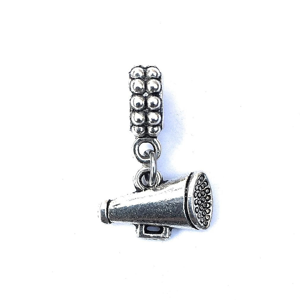 Silver Cheerleader  Megaphone Charm Bead for European and American Bracelet.