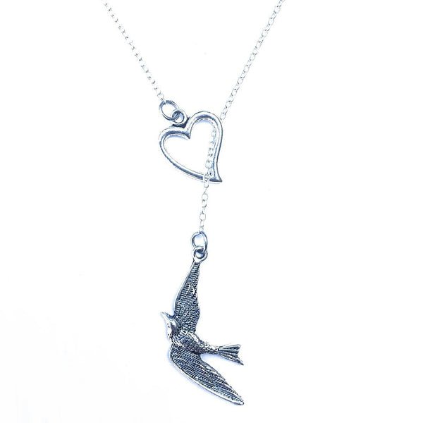 I Love Swallow Bird Silver Lariat Necklace.